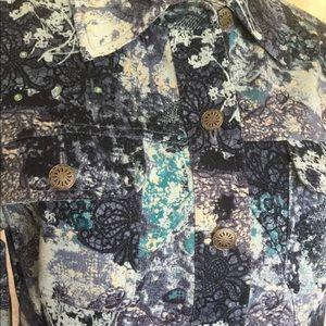 Christopher & Banks Jackets & Coats - Christopher & Banks Print Jean Jacket